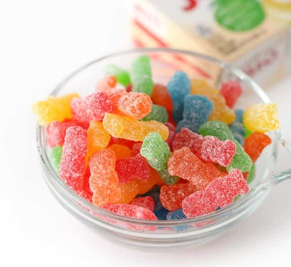 sour patch kids in a bowl